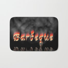 Barbeque Text On Fire Bath Mat