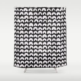 Black & Half Circles Shower Curtain
