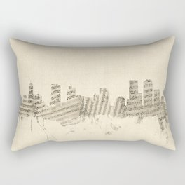 Denver Colorado Skyline Sheet Music Cityscape Rectangular Pillow