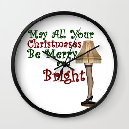May All Your Christmases Be Merry and Bright Wall Clock