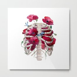 Rib cage with poppy Metal Print