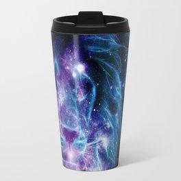 Leo Galaxy Lion : Purple Blue Travel Mug