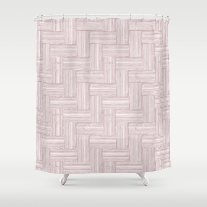Pastel Pink Woven Construction Shower Curtain