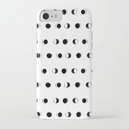 Linocut moon phase black and white minimal college dorm decor basic must haves iPhone Case