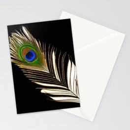ART DECO PEACOCK FEATHER BLACK ART Stationery Cards