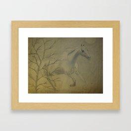 Majestic Horse Pencil Sketch  Framed Art Print