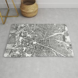 Vintage Map of Madrid Spain (1656) BW Rug
