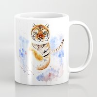 tiger Mugs featuring Tiger by Anna Shell