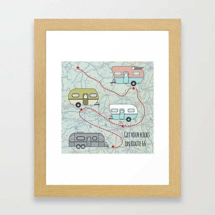Get Your Kicks Framed Art Print
