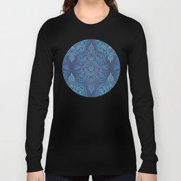 Aqua, Cobalt Blue & Purple Protea Doodle Pattern Long Sleeve T-shirt