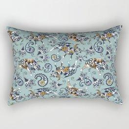Ox Paisley (Blue-Grey Palette) Rectangular Pillow