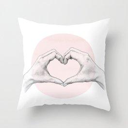 heart in hands // hand study Throw Pillow