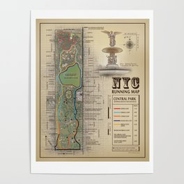 Central Park [Bethesda Fountain] Vintage Inspired running route map Poster
