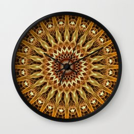 Golden and brown floral mandala Wall Clock