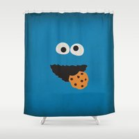 sesame street Shower Curtains featuring Sesame Street Vintage Nursery Art Cookie Monster Retro Style Minimalist Poster Print by The Retro Inc