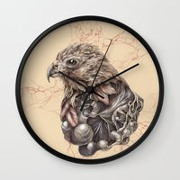 hawk Wall Clocks featuring Hawk by Adrian Chin