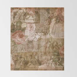 Vintage & Shabby Chic - Victorian ladies pattern Throw Blanket