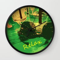 relax Wall Clocks featuring Relax by Geni