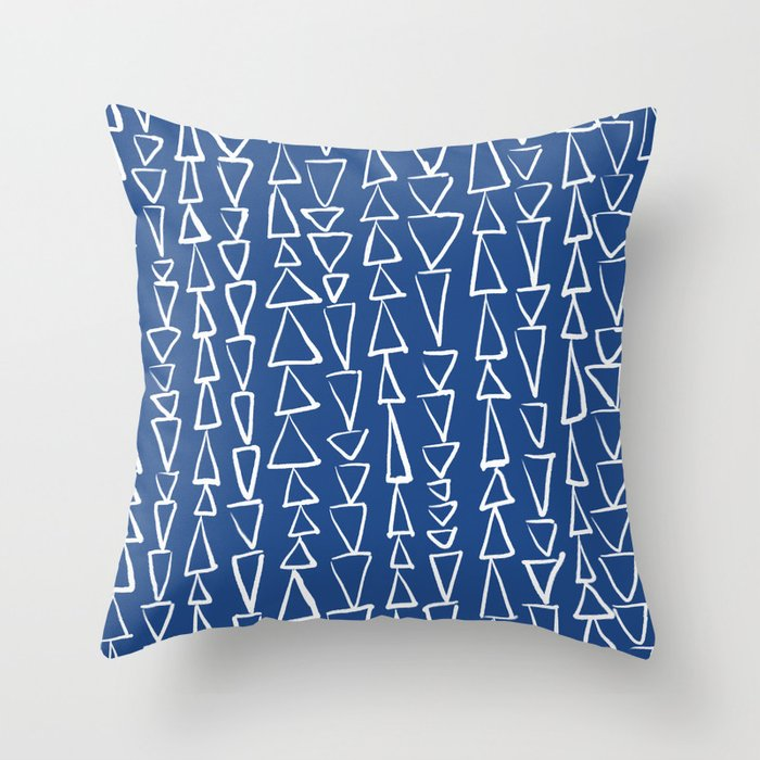 Blue Jazz Triangles Throw Pillow