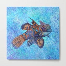Mandarinfish in Water Metal Print