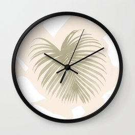 Palm leaf with abstract hand-made shapes Wall Clock
