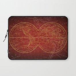 Antique Navigation World Map in Red and Gold Laptop Sleeve