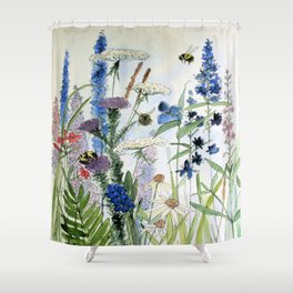 Wildflower in Garden Watercolor Flower Illustration Painting Shower Curtain