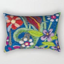 Cozy Felted Wool Flower Garden Rectangular Pillow