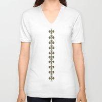 fleur de lis V-neck T-shirts featuring Turquoise Fleur-de-lis  by art4sharing