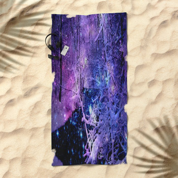 Cosmic River Galaxy Forest Beach Towel