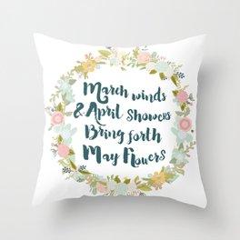 May Flowers brush script Throw Pillow