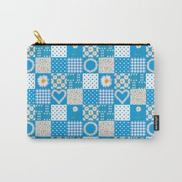 Daisy Chain Hearts and Circles on Turquoise Blue Carry-All Pouch