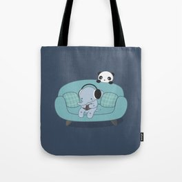 Kawaii Elephant And Panda Tote Bag