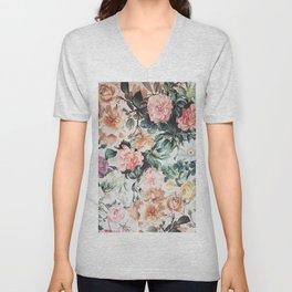 Vintage green pink yellow watercolor roses floral Unisex V-Neck