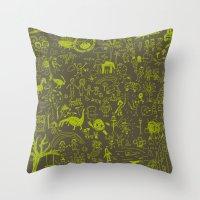 doodle Throw Pillows featuring Doodle by Sarinya  Withaya