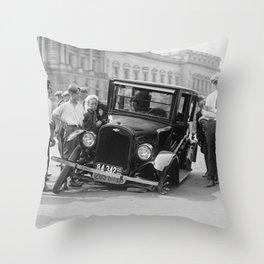 Broken car USA Throw Pillow
