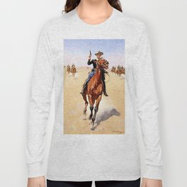 """The Trooper"" Western Art by Frederick Remington Long Sleeve T-shirt"