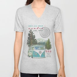 """Not all who wander, are lost"" poster print Unisex V-Neck"