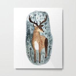 Deer in the woods Metal Print