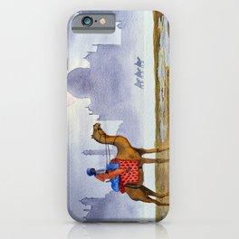 Camel Riders Alongside The Taj Mahal By Moonlight iPhone Case