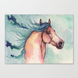 Horse with blue mane Canvas Print