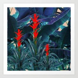RED BROMELIAD FLOWERS & BLUE  JUNGLE LEAVES Art Print
