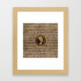 Pyrographed Golden Nefertiti on wood Framed Art Print