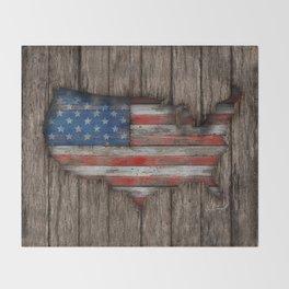 American Wood Flag Throw Blanket