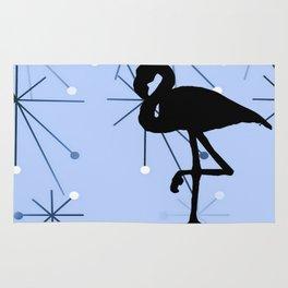 MidCentury Modern Atomic Starburts Flamingo Blue Rug