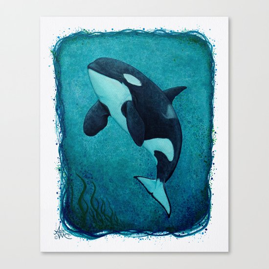 """""""The Matriarch"""" by Amber Marine ~ Orca / Killer Whale (J2 Granny) Watercolor Painting, (c) 2016 Canvas Print"""