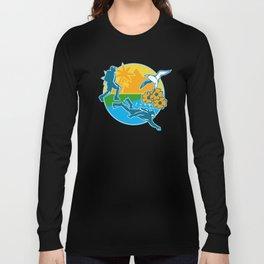 Hiker Scuba Diver Island Tropicbird Flowers Retro Long Sleeve T-shirt