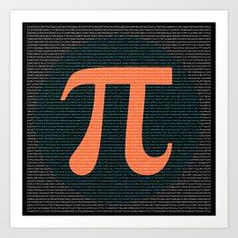First 10,000 digits of Pi, blue and orange. Art Print