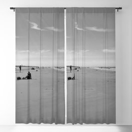 low tide sand beach sunny summer day at ouddorp zeeland netherlands europe black white Blackout Curtain