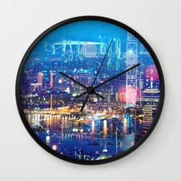 Hong Kong Blue Wall Clock